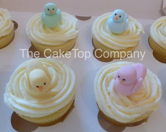 Pastel 3D Duck  Cupcake Toppers  - birthday, baby shower, christening