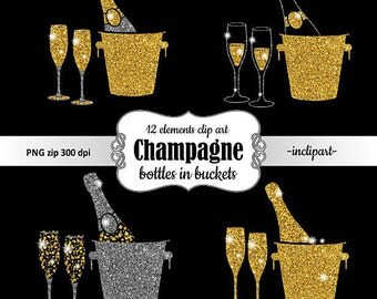 Champagne Clipart. Bottle in bucket & glasses glitter clip art. Gold and silver glitter clipart. Instant digital download. PNG format.