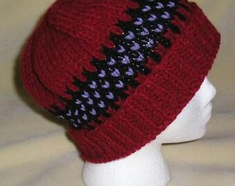 Dark Red, Black and Purple, Fair Isle Hat, warm winter hat, winter accessories, Handknit