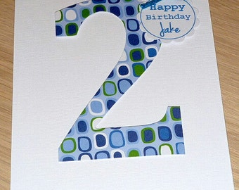 Personalised Boys OR Girls Birthday card - ANY age - 1st 2nd 3rd 4th 5th 6th 7th 8th 9th 10th - custom made handmade greeting card