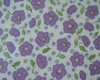 "Half Yard of 2015 Lecien Retro 30's Daisies Fabric in Purple. Approx. 18"" x 44"" Made in Japan"