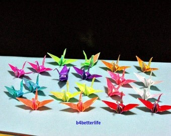 """250pcs Assorted Colors 1.38"""" Origami Cranes Hand-folded from 3.5cm x 3.5cm Square Papers. (AV Papers series). #FCA-7."""