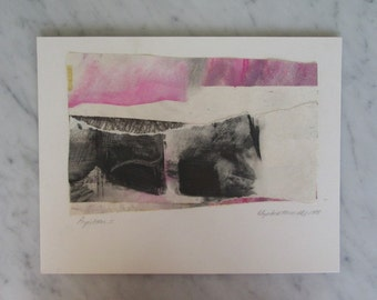 70's Signed Original Abstract Paper Collage Graphite and Paint Pink and Grey