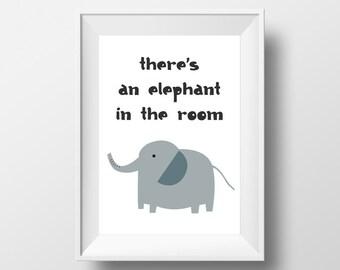 Elephant poster, Elephant print, instant download, printable, nursery art, nursery prints, gender neutral, animal poster, quote