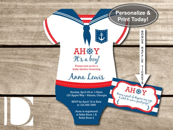 Images of diy nautical invitations spacehero nautical baby shower invitation onesie ahoy its by filmwisefo