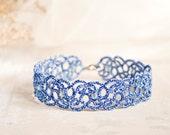 Something blue anklet, lace anklet, bridal something blue, something blue for bride, blue ankle bracelet, wedding gift anklets for women
