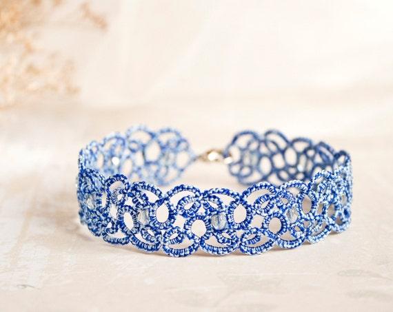 Something blue anklet, blue lace anklet, something blue wedding, something blue for bride, blue ankle bracelet, tatting accessories.