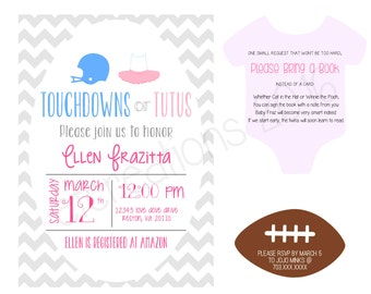 Touchdowns or Tutus - Baby Shower Invitations