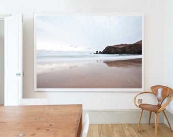 Photograph,  Landscape, Beach, Pastel, White, Brown, Scotland, Isle of Lewis No3, Home decor, Wall art, Home, Minimal, Print, Photo, Art
