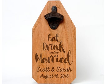 Wedding Gift Personalized Sign Wood Bottle Opener