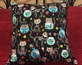 Pillow, Gothic Kitty Skulls, Day of the Dead
