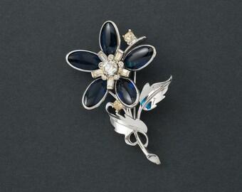 Vintage  Brooch Bards 56 Crystal Flower