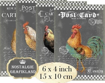 Chalkboard Rooster Hen Chicks Farm 6 x 4 inch Instant Download digital collage sheet D143