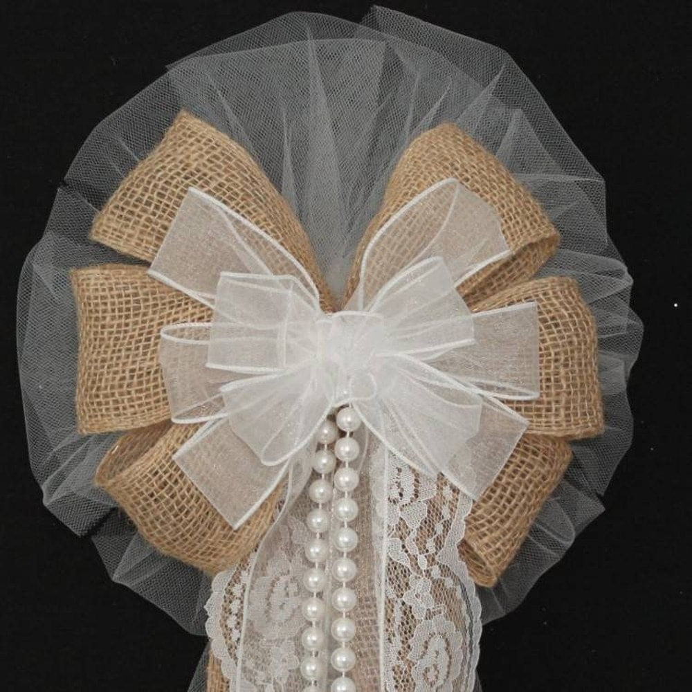 6swhite Silvers: White Sheer Burlap Wedding Bows With Lace And Pearls Rustic