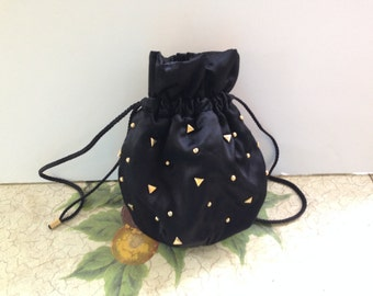 Black Satin 1980's Drawstring Bag-Mint Condition