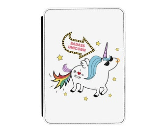Badass Unicorn Kindle Paperwhite / Touch 2012 2013 2014 2015 2016 (All Models) PU Leather Flip Case Cover