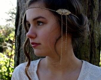 Gold Art Deco Wedding Hair Accessory - Bridal  Head chain- 1920s Great Gatsby headpiece