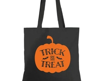 Trick Or Treat Halloween Tote, Personalized Tote, Halloween Bag