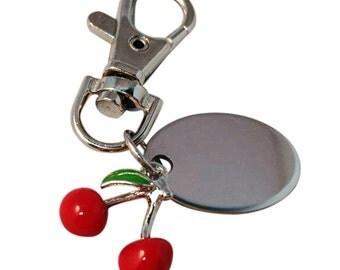 Cherry keyring, custom engraved personalised in velvet gift pouch PL537