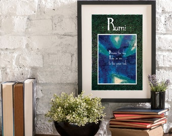 July Become the Sky A Year of Rumi Inspirational Quote Artwork Print Poster