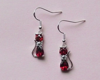 Cat Earrings - Red Crystal Cat Earrings Red - Silver Plated