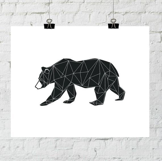 Black Bear, Black Nursery Decor, Tribal Nursery Art, Tribal Art, Geometric Art, Geometric Print, Bear Art, Nursery Decor, Tribal Nursery