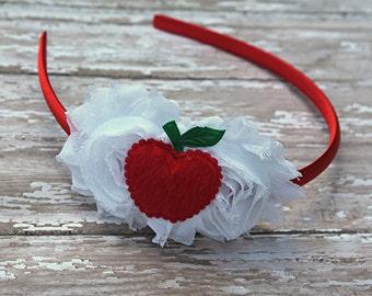Red apple headband - back to school headband - satin lined headband - girls headband - teacher headband