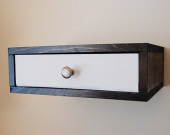 Flottant tag re murale table de chevet avec tiroir en bois for Etagere murale avec tiroir