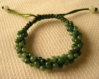 Free S&H - Large Adjustable Delicately Braided 81 Green and Light Green Jade Beaded String Bracelet