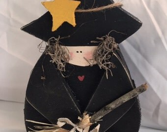 Handmade Halloween Friendly Witch with broom