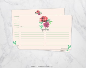 Rose Watercolor Recipe Cards, 4x6 card, FILL IN - package of 25 cards