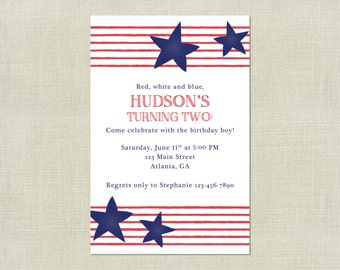 Stars and Stripes 4th of July Birthday Party Invitation / Fourth Red White and Blue / American Flag / Printable Party Invite