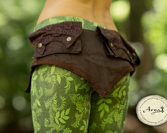 Lace Pixie Pocket Belt (Brown) - Handmade Cotton and Lace Festival Gypsy Hippie Fairy Psytrance Bohemian Nomadic Desert Fanny Pack Hip Bag