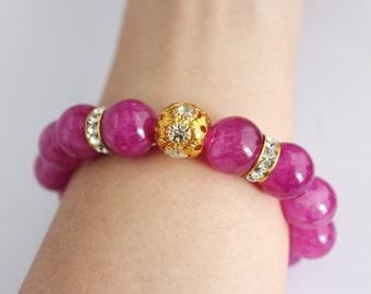 Violet hue stone beaded gold tribal bracelet, purple beaded bracelet, bracelet gift, festive gift, gift for her