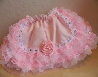 """Reborn/Baby 18-20""""-newborn1 0n  pink +pink  frilly lace frilly knickers/bloomers  large baby doll bridesmaid dolls clothes"""