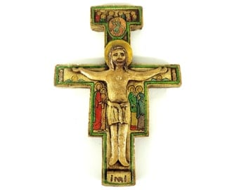French Vintage San Damiano Crucifix/French Vintage San Damiano Chalkware Crucifix/Vintage San Damiano Chalware Crucifix