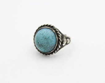 Vintage Turquoise Glass Ring 1960s Sterling Silver Southwest Style Adj 7. [7165]