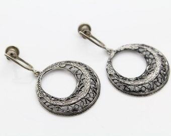 Open-Circle Illusion Drop Blackened Silver Earrings With Screw Backs. [7692]