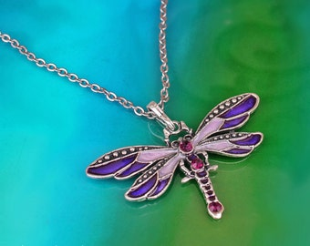 Purple Dragonfly Necklace, Long Rhinestone Necklace, Purple Enamel Dragonfly Pendant, Butterfly Necklace, Insect Pendant Necklace