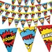 Comic-Superhero bunting banner, to decor your superhero party. Digital Birthday bunting banner - Printable PDF file.
