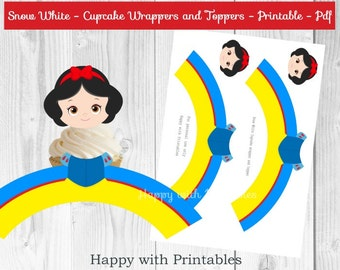 Snow White Cupcake wrappers and Toppers - Snow White cake wrappers - Snow White cupcake toppers - Snow White Party - Snow White decoration