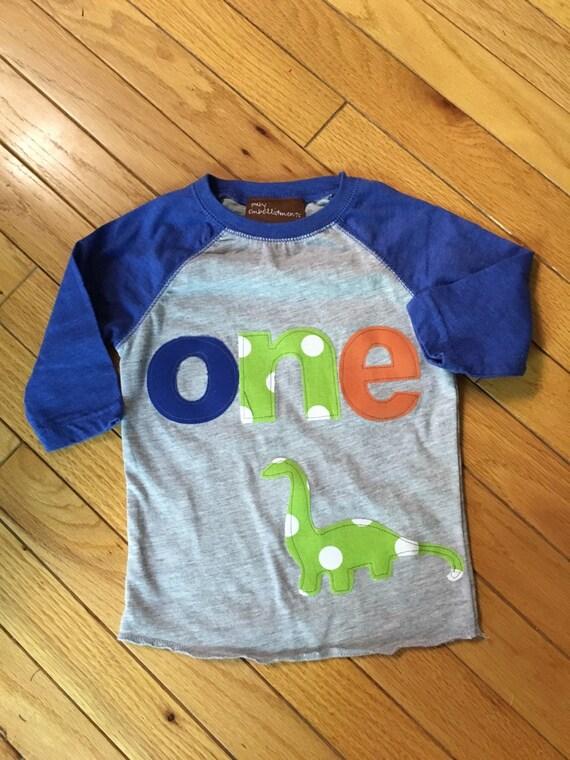 ONE dinosaur birthday shirt, boys dino birthday shirt, 1st birthday dinosaur shirt, 2nd birthday dinosaur, lime green, blue orange raglan