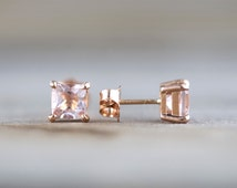14k Solid Rose Gold Cushion Cut Pink Peach Morganite Earring Studs Post Push Back Square Post Stud