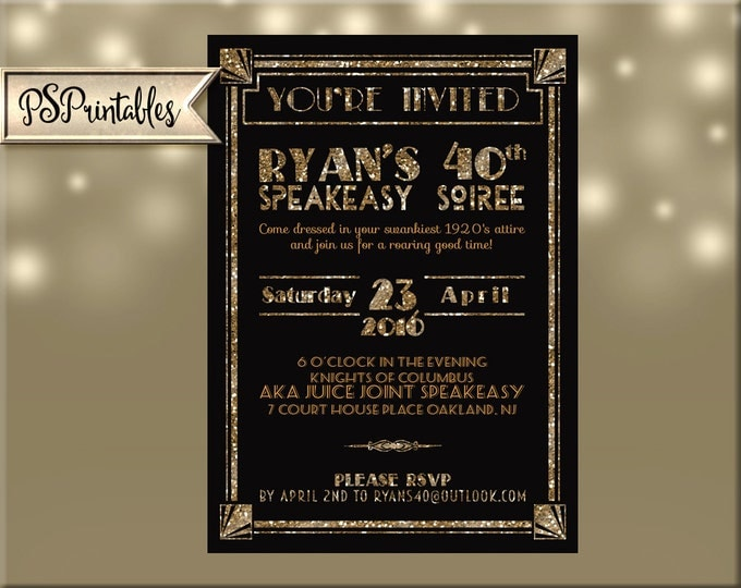 Art Deco-Roaring 20's-Great Gatsby birthday Invitation with Color Options - includes FRONT & BACK personalized-DIY digital download