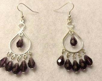 Dark Purple Chandelier Dangle Earrings