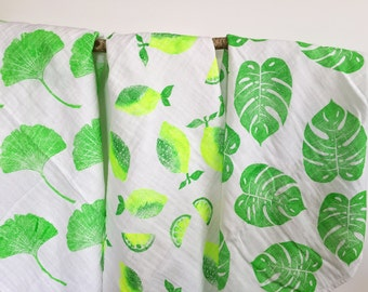 Set of 3 Baby blankets, Aralia, Lemons, Philodendron, handprinted, tropical swaddle blanket, baby shower gift idea, green theme baby shower