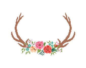 Modern Deer Cross Stitch Pattern cross stitch Floral Antler theme Deer Antlers cross stitch Stag Antlers cross stitch pattern
