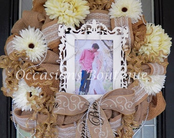 Burlap Wedding Decoration, Engagement Party Decoration, Bridal Shower Wreath, Wedding Wreath, Engagement Wreath, Burlap Decor, Wedding Gift