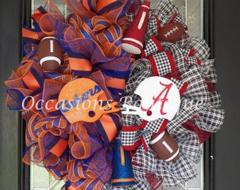 House Divided Football Wreath, SEC Football, Door Hanger, Football Party, Alabama Crimson Tide, Florida Gators, Wreath for Door, Pre-Order