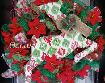 Holiday Wreath, Christmas Decoration, Christmas Wreaths, Deco Mesh Wreath, Door Hanger, Front Door Wreaths, Reindeer